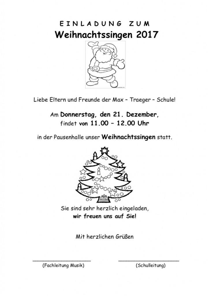 Einladung zum Weihnachtssingen – 2017