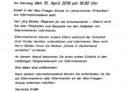 Infoabend zum Thema Elternmentoren am Dienstag 10. April 2018 um 18 Uhr